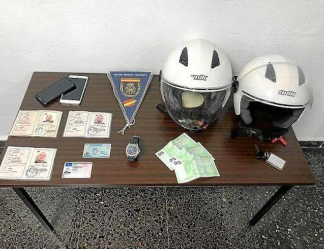 False passports, mobile phones, stolen watch, two helmets and cash found at Playa de Palma hotel.