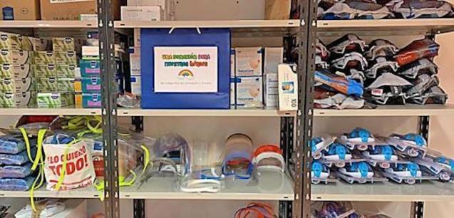 Diving masks on the donation shelves at Son Llàtzer Hospital.