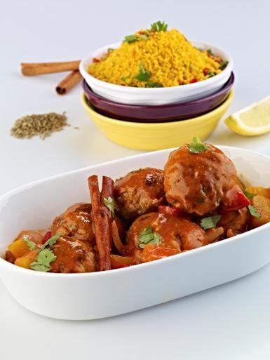 Moroccan Lamb Meatballs with Harissa & Saffron Couscous.