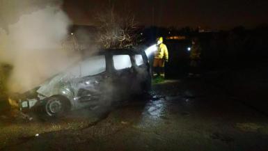 The vehicle was set ablaze.
