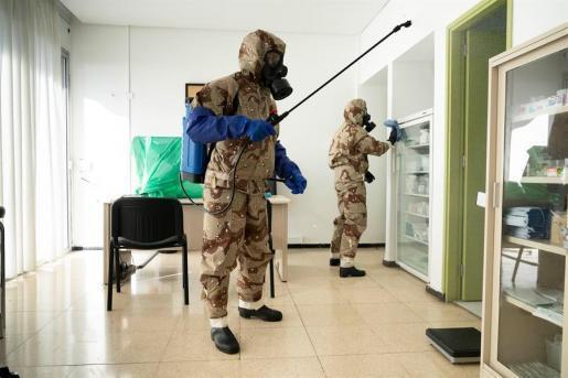 Armed Forces disinfecting Nursing Homes.