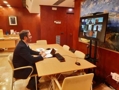 Mayor José Hila during a videoconference on Wednesday.
