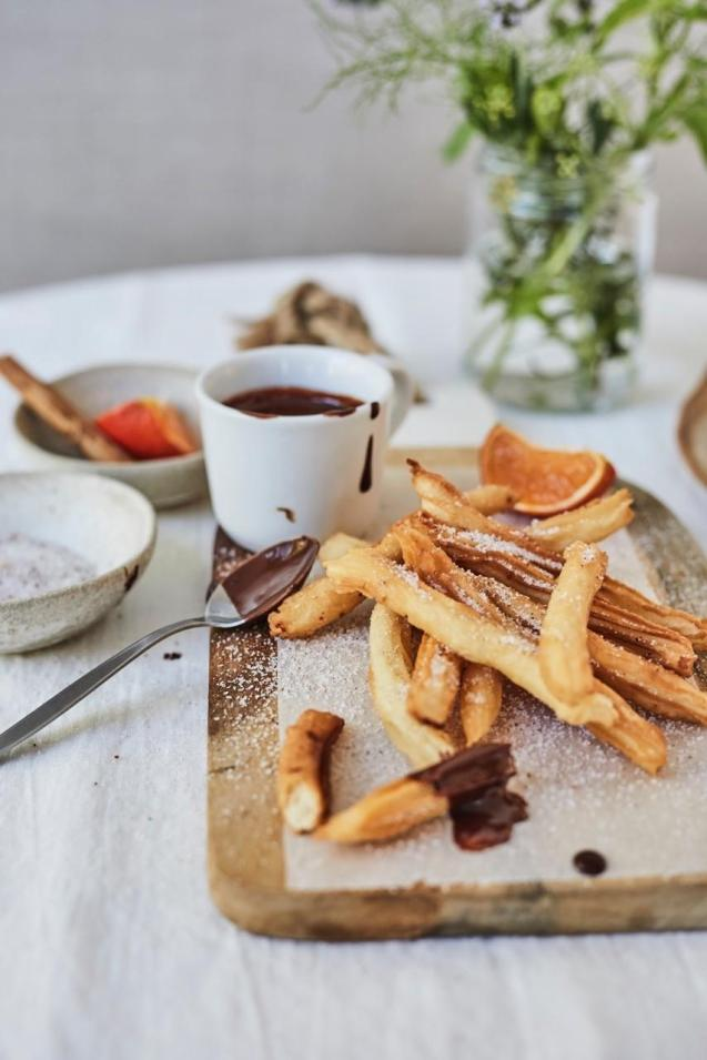 Churros with Hot Chocolate and Orange Blossom dip