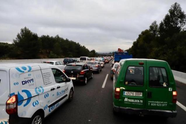 Massive traffic jams in Palma on Tuesday.