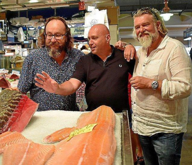 The Hairy Bikers with Marc Fosh at Olivar Market, Palma