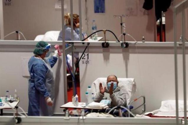 Patient at the temporary Ifema field hospital, Madrid