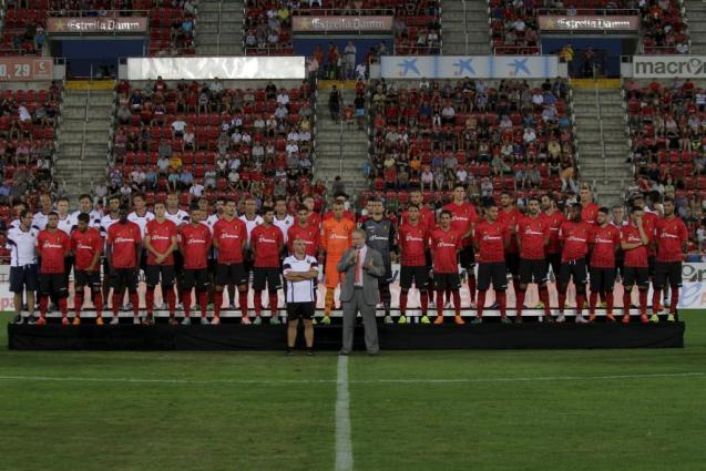 """Real Mallorca coach """"Chapi"""" Ferrer (L) and president Utz Claassen at Tuesday night's presentation game."""