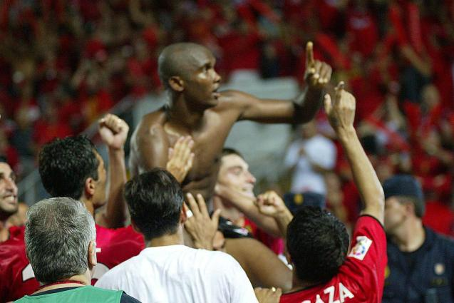 In the final of the Copa del Rey, Eto'o celebrates one of his goals.