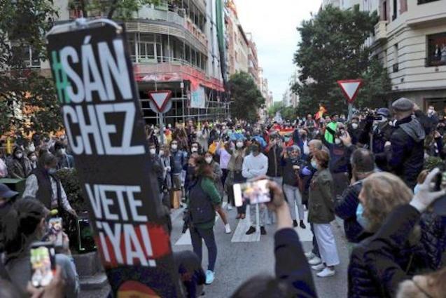 Anti-Government protestors in Madrid.