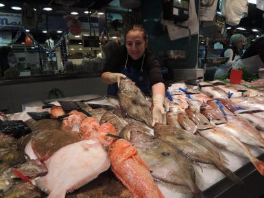 Fish stall at Palma market.