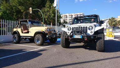 Two environmentally friendly Jeeps at Calanova last week. An early 80's CJ7 and the latest Wrangler.