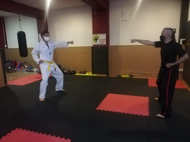 Teaching a martial arts class with social distancing and masks