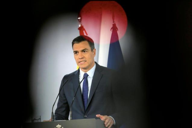 Spanish PM Sanchez attends a news conference
