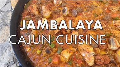 Jambalaya is a popular dish from Louisiana with influences from West Africa, French, Spanish and American Indian. It is a spicy rice dish with veggies, chicken, sausage and shrimp. Similar to a paella.