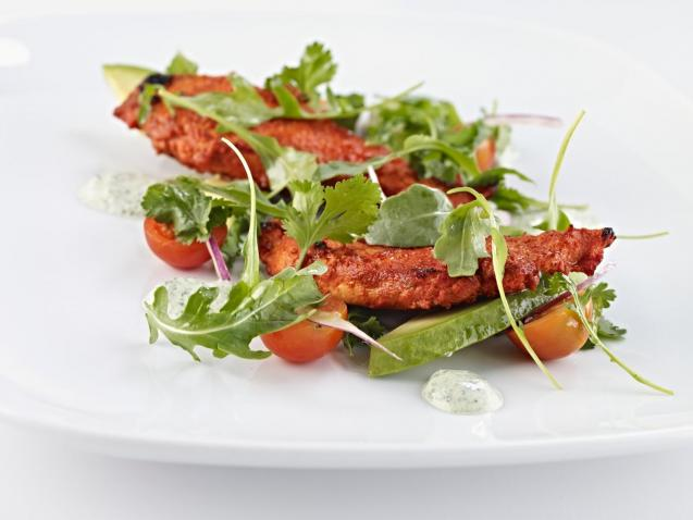 Grilled Tandoori Chicken Salad with minted Cucumber raita.