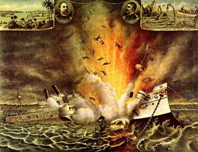 Explosion of USS Maine in Habana.