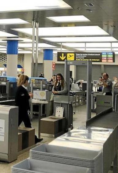 Health Controls at Son Sant Joan Airport, Palma.