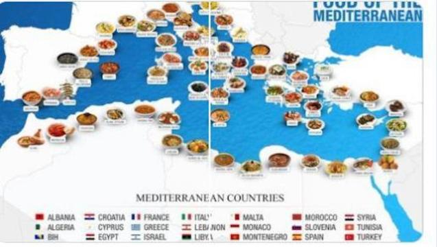 Map of Mediterranean Cuisine.