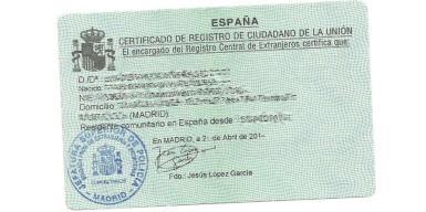 Spanish Tarjeta de Residencia. archive photo.