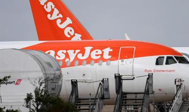 An EasyJet aircraft at Stansted Airport in London.
