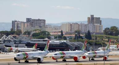 TAP planes are seen at Lisbon's airport during the coronavirus disease (COVID-19) outbreak, in Lisbon.