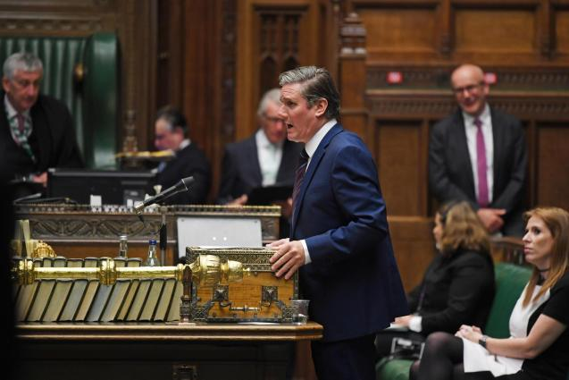 Britain's Labour leader Keir Starmer during Prime Ministers Questions in the House of Commons Chamber in London.
