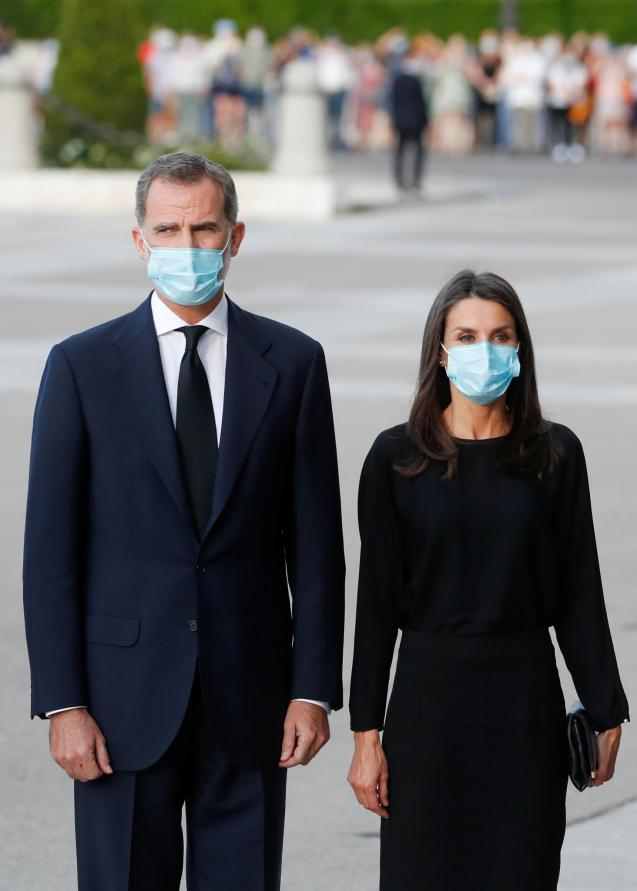 King Felipe and Queen Letizia of Spain attend a funeral mass for COVID-19 victims in Madrid