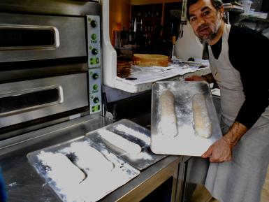 Sandro gets his daily bake underway.