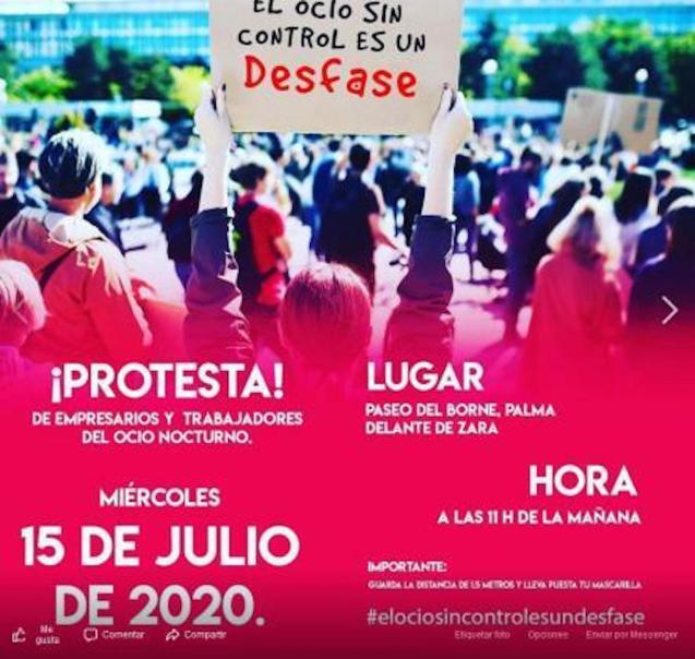 Nightlife workers demonstration in Palma on July 15.