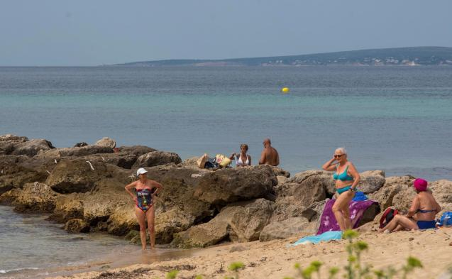 People on the beach in Mallorca