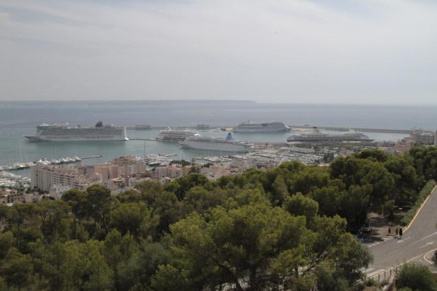 Five cruise ships at Palma's port