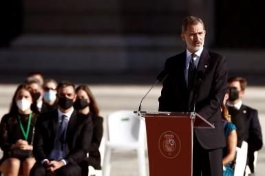 King Felipe at the tribute to victims of coronavirus.