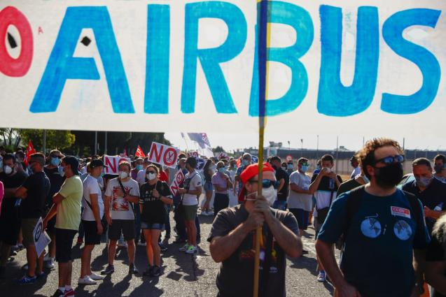 Airbus employees protest