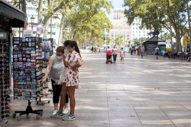 Tourists in Las Ramblas in Barcelona