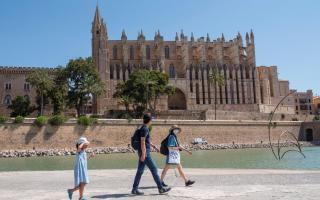 Tourists walking around Palma's Cathedral