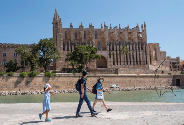 Tourists walking around Palma's Cathedral