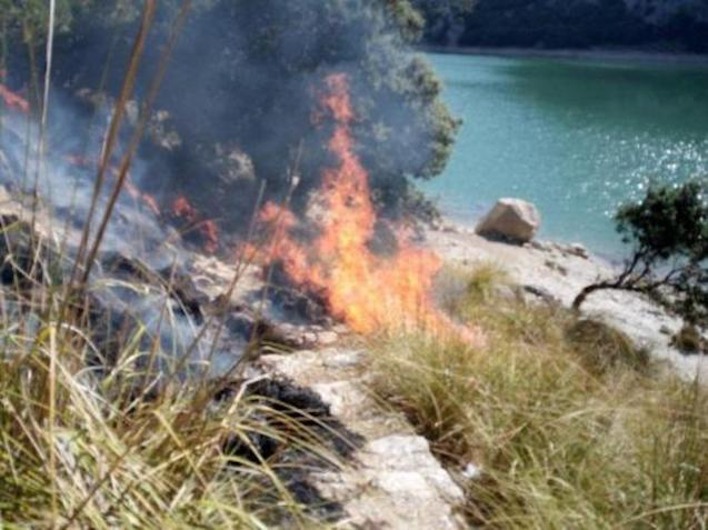 Fire near the Gorg Blau reservoir in Majorca.