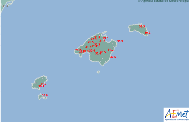 Temperatures on the Balearic Islands