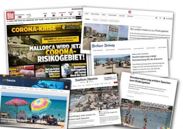 German press react to Mallorca being added to Coronavirus risk list.