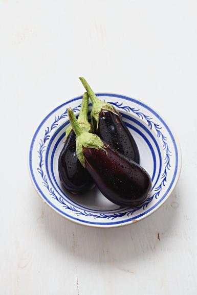 Aubergines, plump, pear-shaped variety.