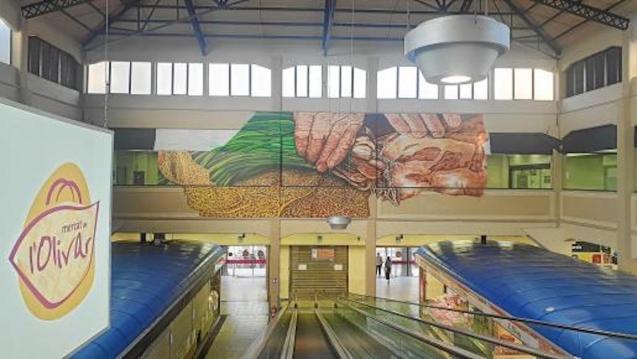 Joan Aguiló Mural in Mercat de l'Olivar, Palma.