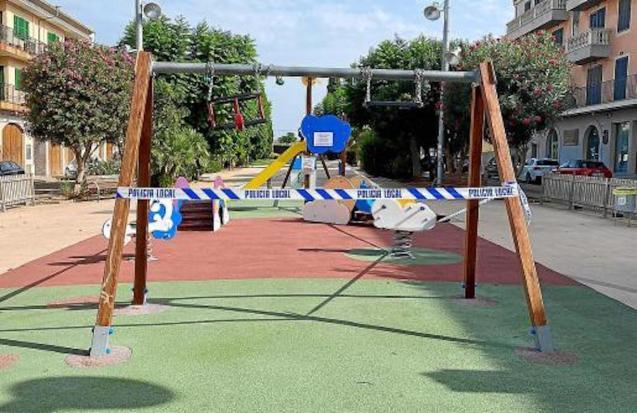 Playgrounds closed in Santa Maria del Camí, Majorca.