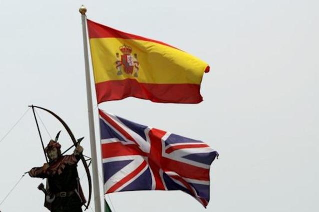 Spanish Flag and Union Jack.