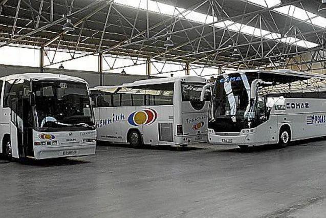 Tourist Buses in Garage, Majorca.