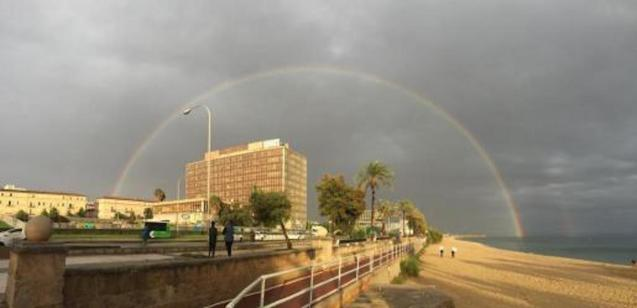 A rainbow appeared between the storms on Monday.