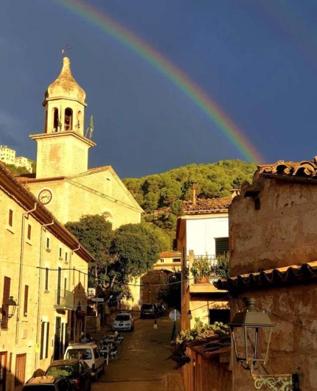 A rainbow over Mancor de la Vall.