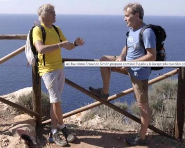 Jesús Calleja & Dr Fernando Simón filming 'Planeta Calleja' in Majorca.