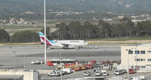 Eurowings plane at Palma Son Sant Joan Airport