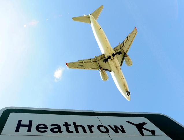 An aircraft comes in to land at Heathrow Airport