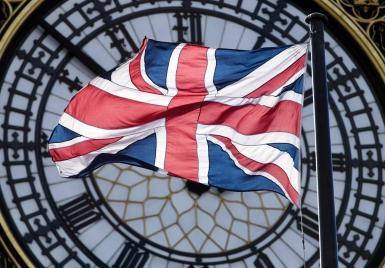 The British flag on Big Ben.